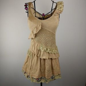 Lulumari Boho Coffee Tan Mini sz S NWOT